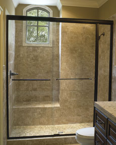 Custom SemiFrameless Sliding Shower Enclosure with panel